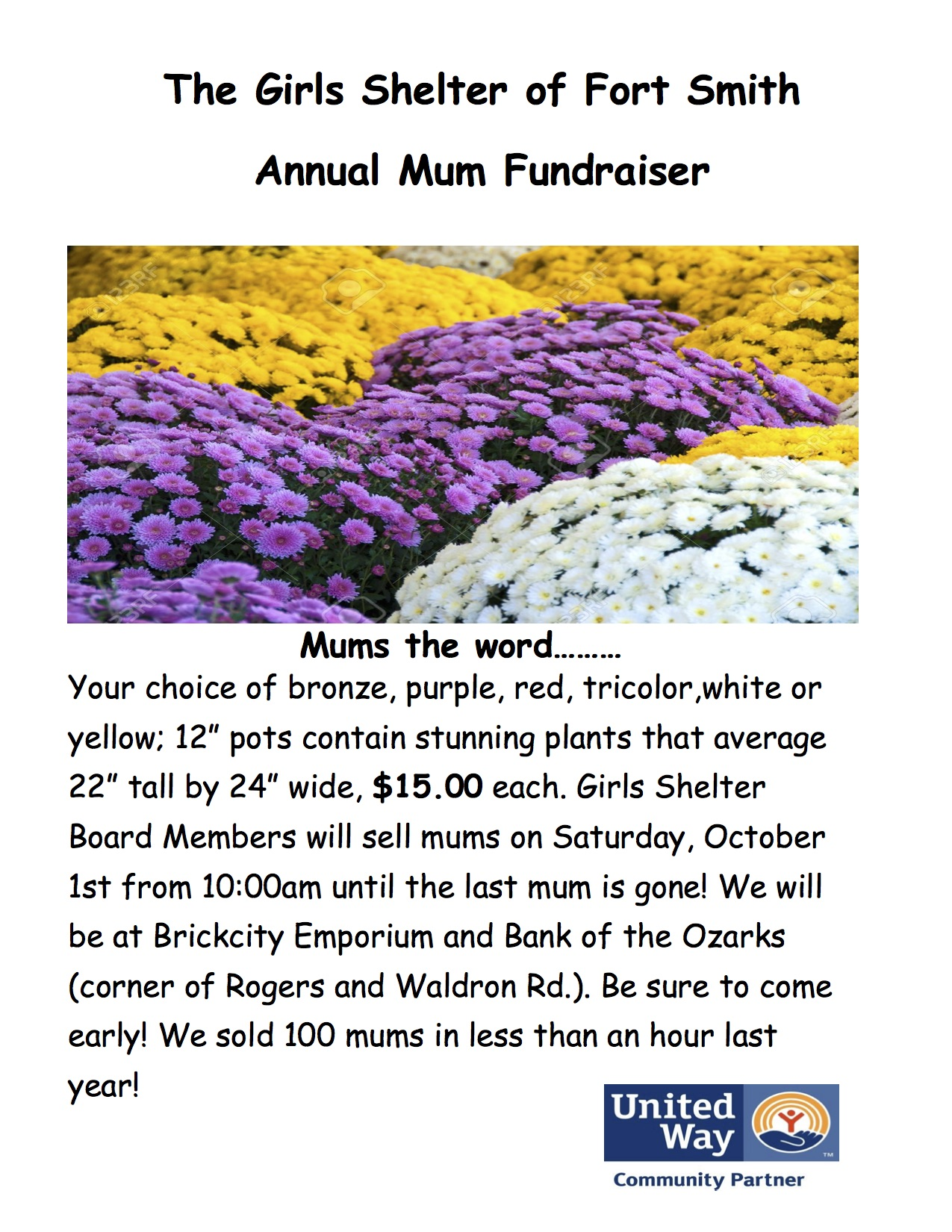 2016 mum fundraiser flyer things to do in fort smith